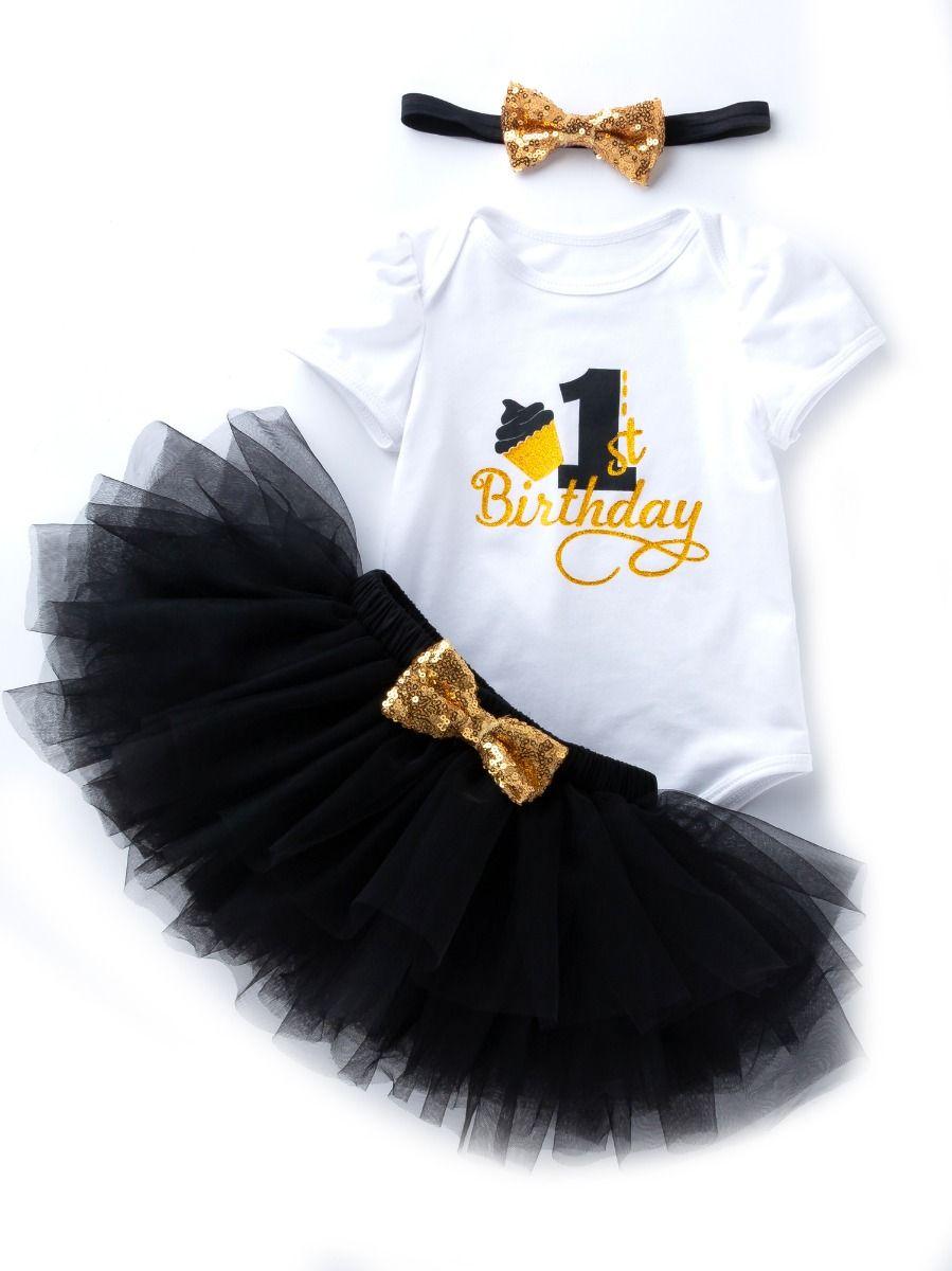 58468e3145de 3PCS Baby Toddler Girl 1st Birthday Clothing Outfit Set Gold Shiny 1st  Birthday Onesie Short Sleeve ...