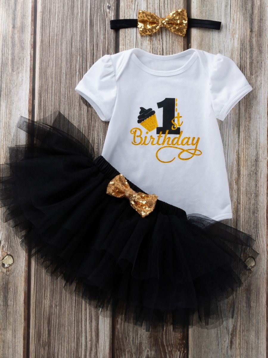 3PCS Baby Toddler Girl 1st Birthday Clothing Outfit Set Gold Shiny Onesie Short Sleeve