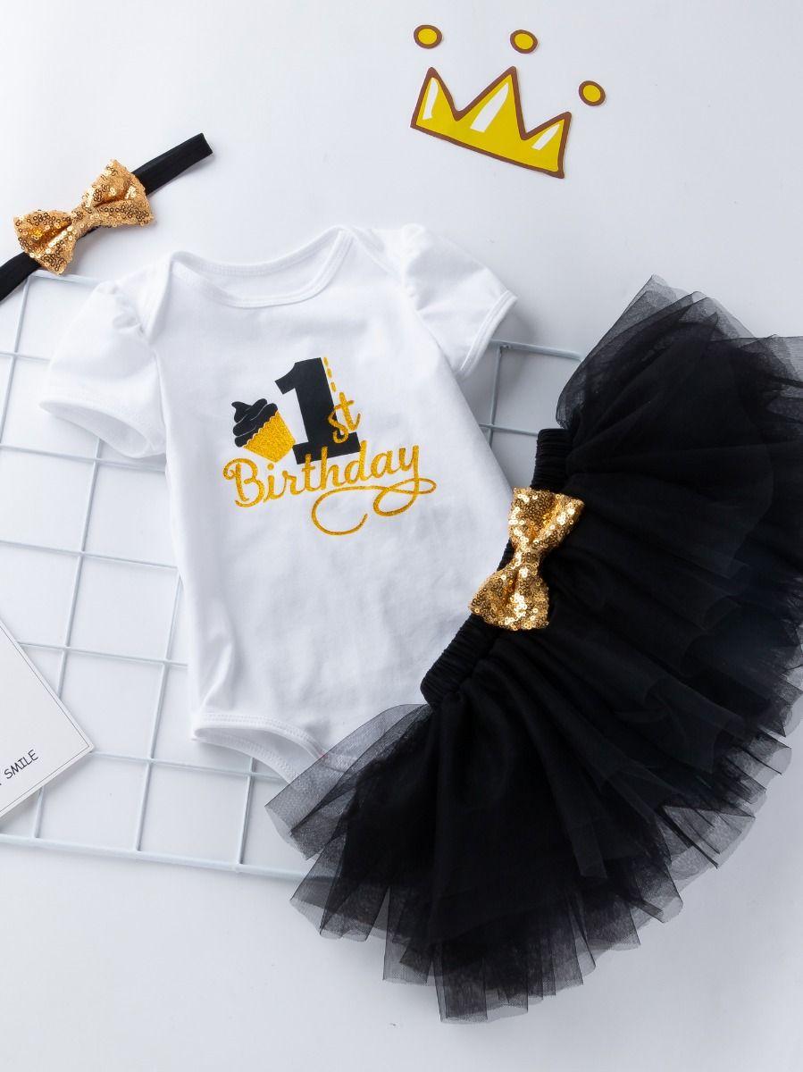 e2c4d39afac2 ... 3PCS Baby Toddler Girl 1st Birthday Clothing Outfit Set Gold Shiny 1st  Birthday Onesie Short Sleeve