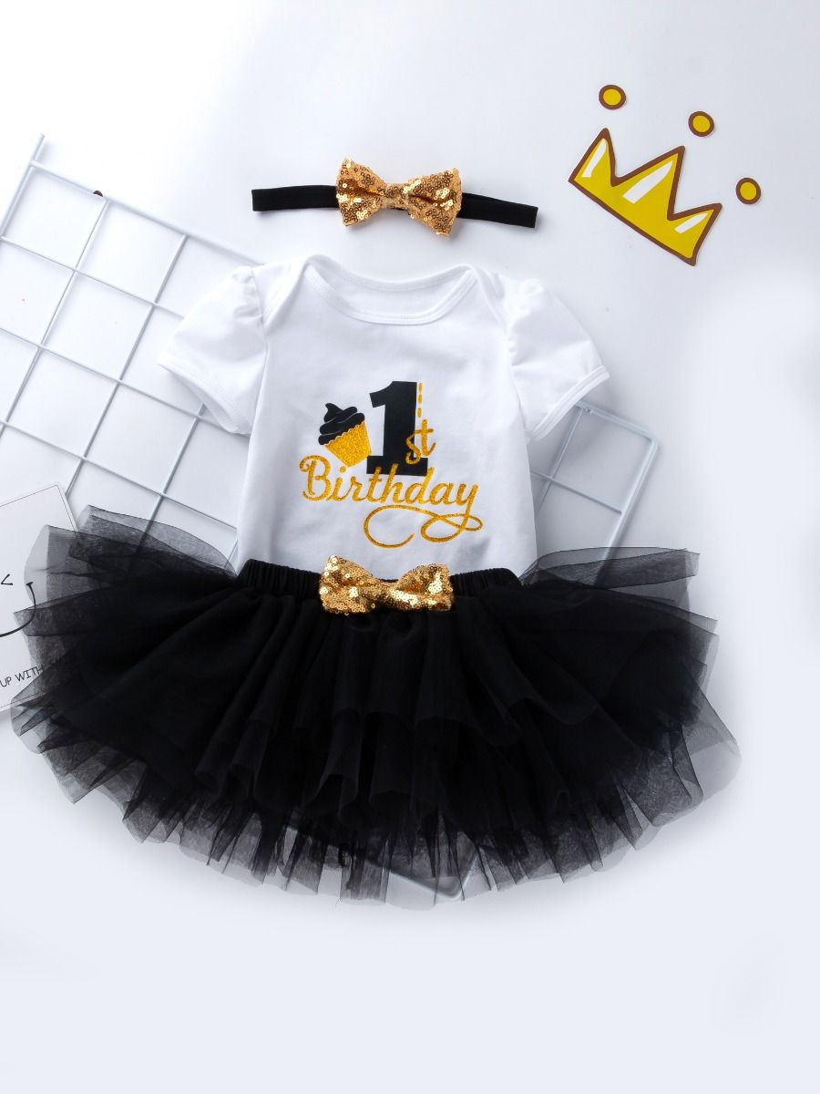 729e88a74ac4 ... 3PCS Baby Toddler Girl 1st Birthday Clothing Outfit Set Gold Shiny 1st  Birthday Onesie Short Sleeve ...