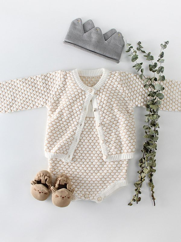 a6cdb855e ... Spanish Style Crochet Dots Baby Girl Cardigan Cotton Knitted Outwear ...