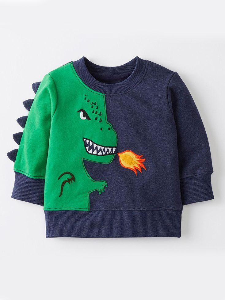 42aa1484f Tap to expand · Cute Cartoon Dinosaur Pattern Color Block Sweatshirt Baby  Big Boy Jumper Long Sleeve ...