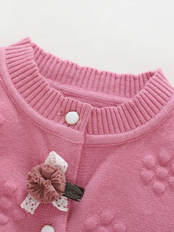 Wholesale Baby Girl Pink Flower Crochet Cardigan