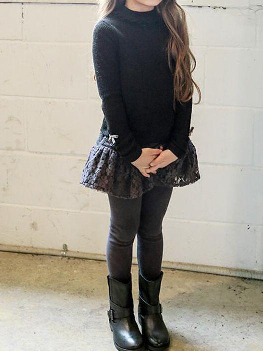 d3f965984f047 ... Toddler Big Girl Fleece-lined Lace Trimmed Leggings Pants Kids Legging  Skirts Pantskirt for Winter ...