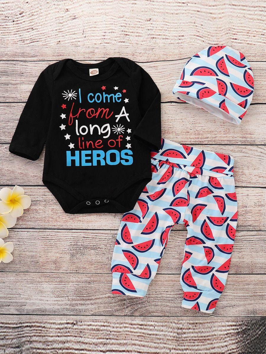 c86ee13c2 ... 3-piece Baby Romper Clothes Outfit Set Letters Star Print Long Sleeve  Romper+Watermelon ...