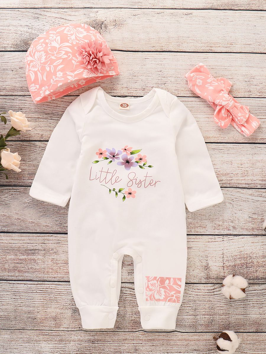Floral romper with matching small bow headband Newborn girl photo outfit set Short onesie with sleeves Footless stretch bodysuit 2 piece