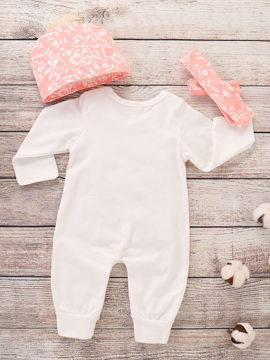 25326183d ... 3-piece Newborn Baby Girl Clothing Outfit Set Little Sister Floral  Romper Jumpsuit+Flower ...