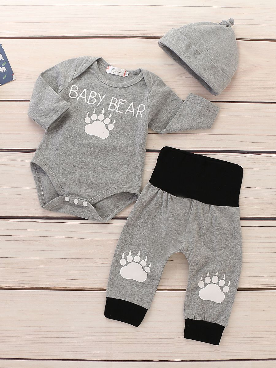 db43ab8f909a ... 3-piece Bear Foot Print Infant Clothes Outfit Set BABY BEAR Romper  Bodysuit+Color ...