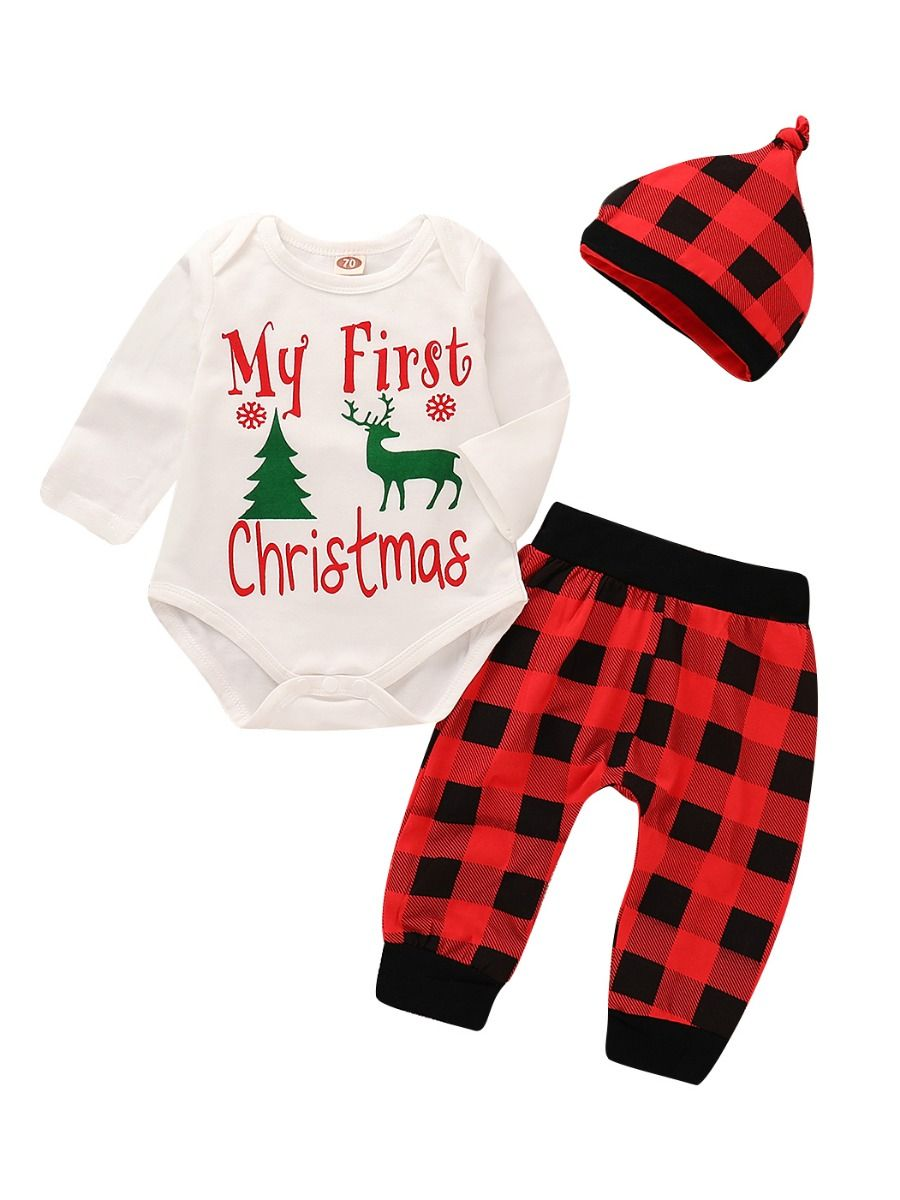 My First Christmas.3 Piece Baby Christmas Clothes Outfit Set My First Christmas Reindeer Romper Black Red Checked Long Pants Plaid Hat Wholesale