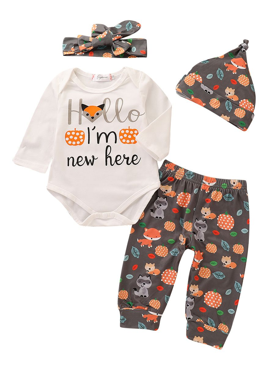 3f50c4afa71c8 4-piece Cartoon Fox Baby Spring Autumn Clothing Outfit Set Hello I'm New ...