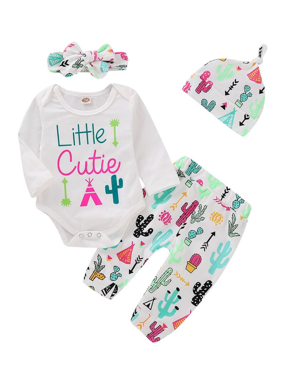 6b9a7c73c210 4-Piece Baby Girl Outfit Clothes Set Letters Print Bodysuit+Cartoon Cactus  Pants+ ...