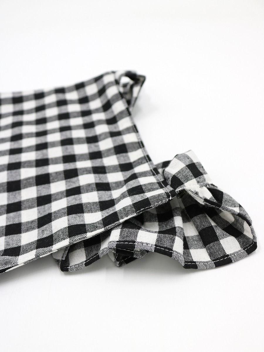 9f88c07f792 ... White   Black Plaid Flutter Sleeve Baby Romper Summer Infant Onesie  Bodysuit ...