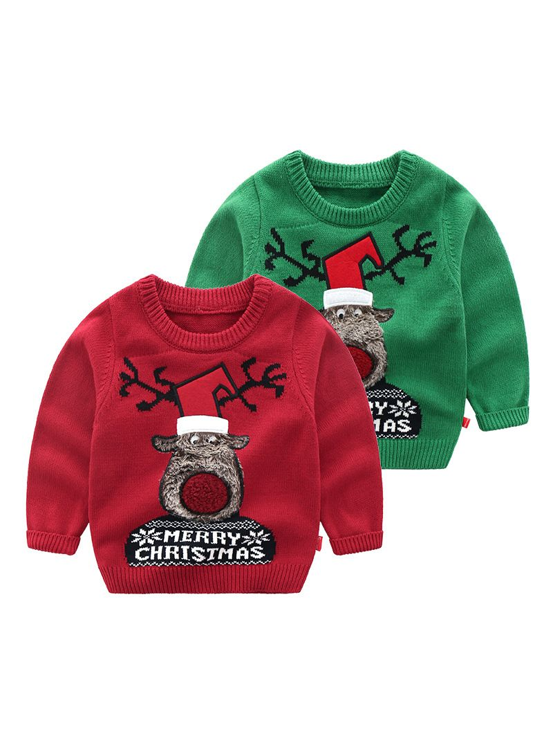 a7f58919f84 5PCS/PACK MERRY CHRISTMAS Reindeer Crochet Sweater Toddler Big Kids  Christmas Jumper Pullover