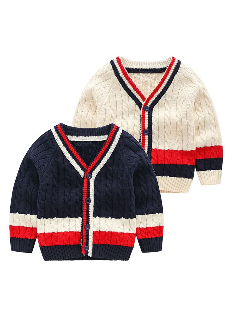 9814aebdf ... 5PCS/PACK Classic Color-blocking Crochet Cardigan Toddler Boys Knit Coat  ...
