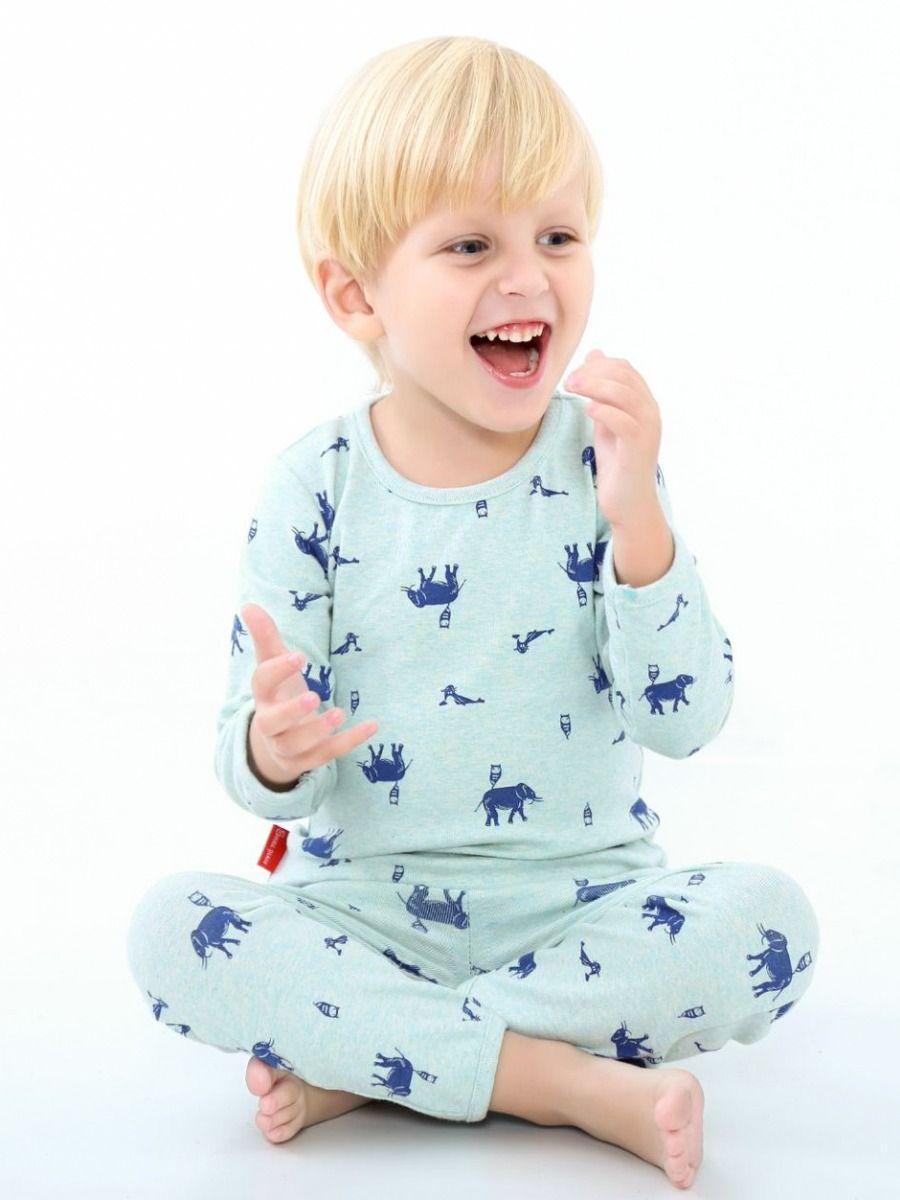 8d72ae9ba7 ... 5SETS PACK Toddler Big Children Cartoon Elephant Casual Homewear Pajama  Set Long Sleeve Pullover Shirt ...