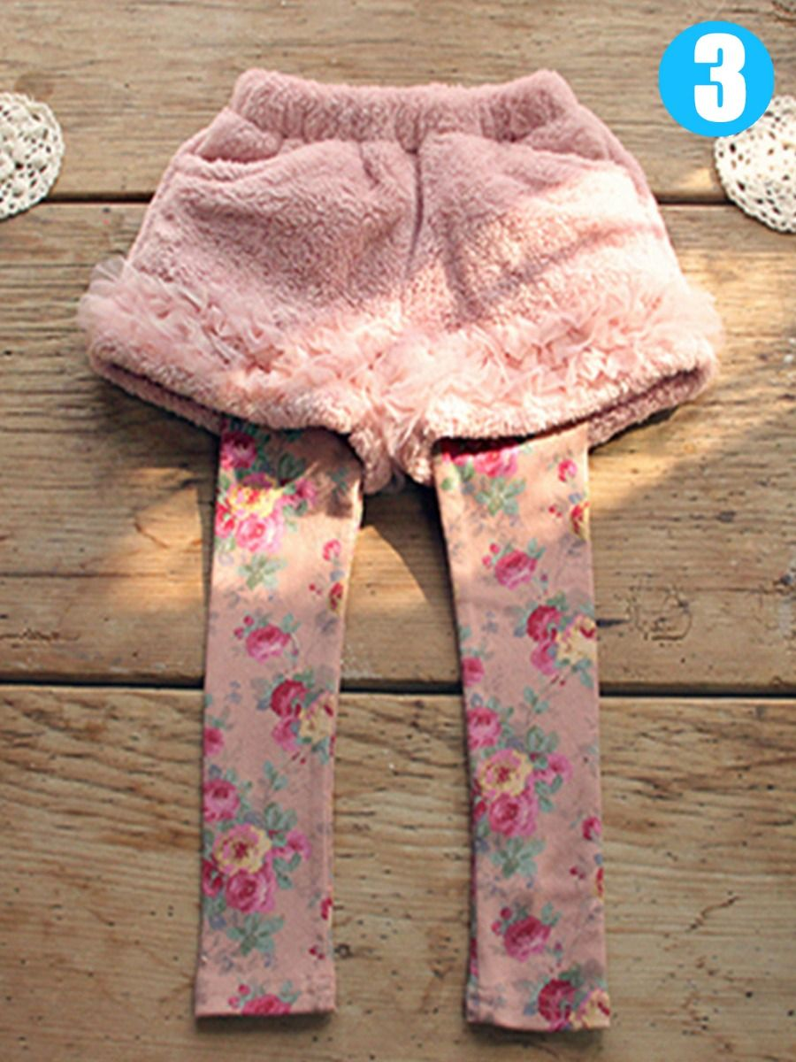 ebd621da816de ... Floral Culottes Leggings Pants Little Big Girl Lace-Trimmed-Hem Tutu  Fleece Legging Skirts ...