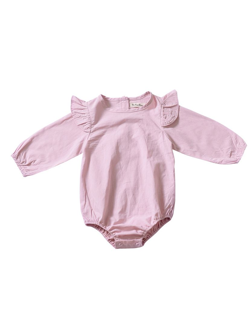 38edf67d9 Wholesale Flutter Sleeve Baby Girl Spring Pink Romper