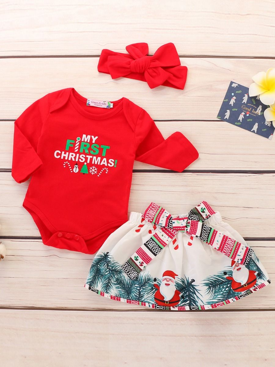 ... 3-piece Baby Girl Christmas Clothes Outfit Set MY FIRST CHRISTMAS Red  Bodysuit+Big ... 515c22e03