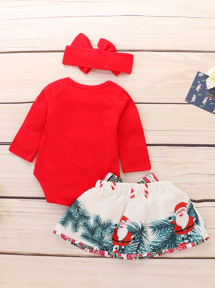 a60ebec7e ... 3-piece Baby Girl Christmas Clothes Outfit Set MY FIRST CHRISTMAS Red  Bodysuit+Big ...