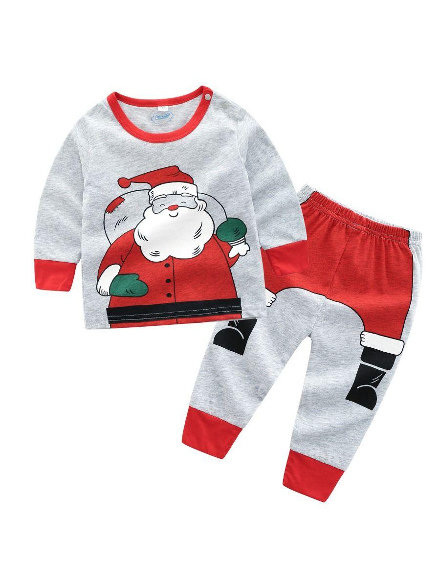 53388f2e16e90b Tap to expand · 2-piece Baby Boys Girls Christmas Tracksuit Santa  Sweatshirt+Pants ...