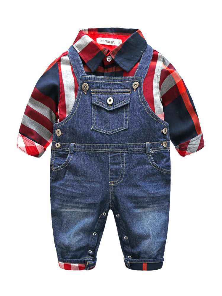 e397f1a7f 2-piece Baby Boy Shirt & Overalls Outfit Set Checked Shirt+Denim Bib  Overalls with Pockets
