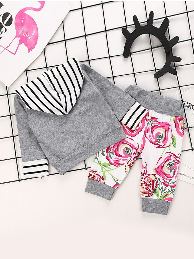 fb070a01 ... 2-piece Baby Little Big Girl Spring Casual Clothes Outfit Set Striped  Hoodie Sweatshirt with ...