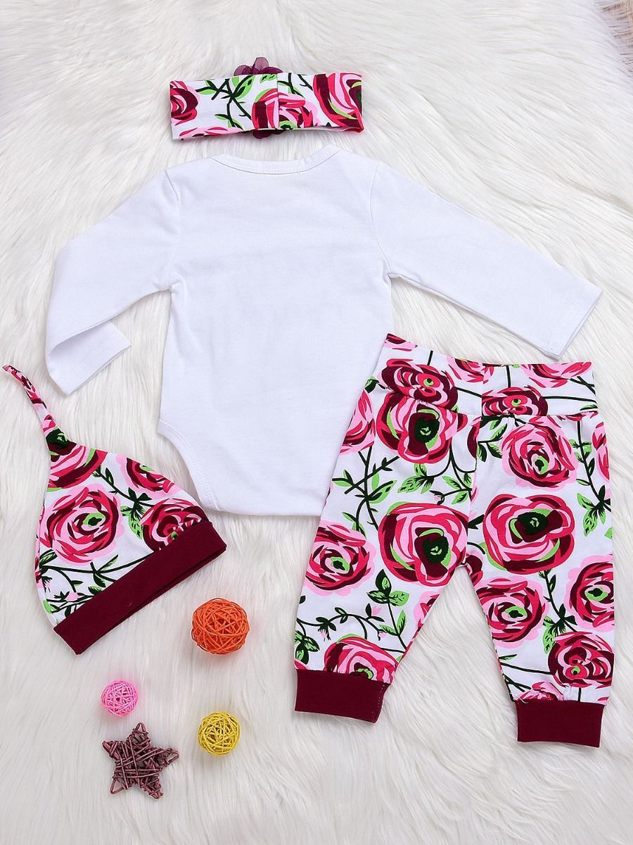 3ef44fe192e4 ... 4-piece Newborn Baby Girl Clothes Outfit Set DADDY S PRINCESS Bodysuit+Flower  Pants+ ...