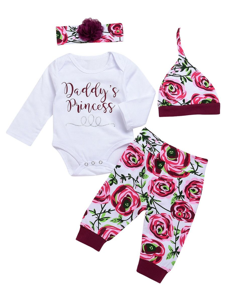 1fa5ab9f8b2e 4-piece Newborn Baby Girl Clothes Outfit Set DADDY S PRINCESS Bodysuit+Flower  Pants+ ...