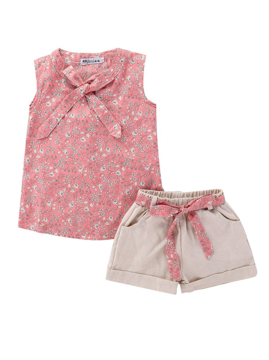 2-7T Little Girl Clothes Two Piece Sleeveless Flower Ribbon Top /& Pink Shorts Sets Summer Cute Girl Floral Outfits