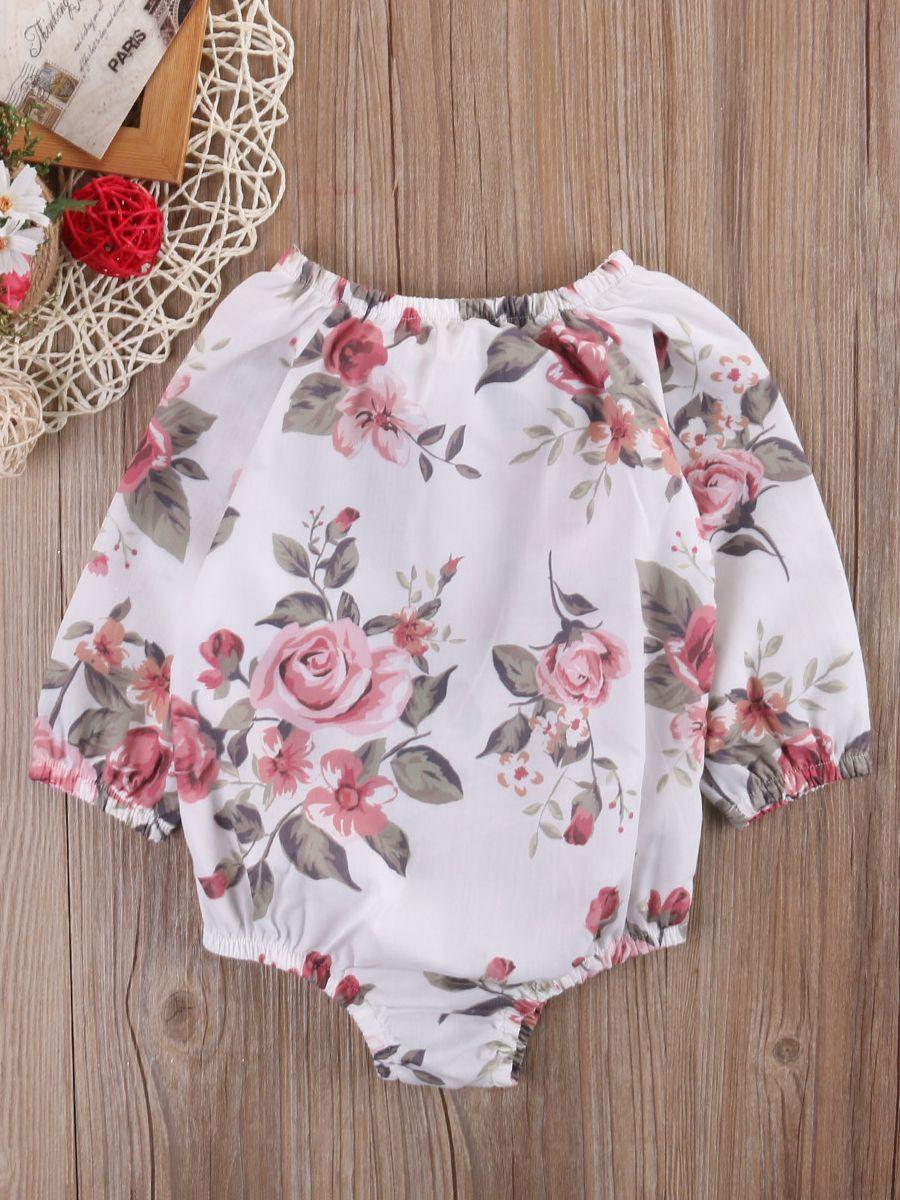 e57497395b72 Baby Girl Rose Romper Bodysuit for Spring Summer ...