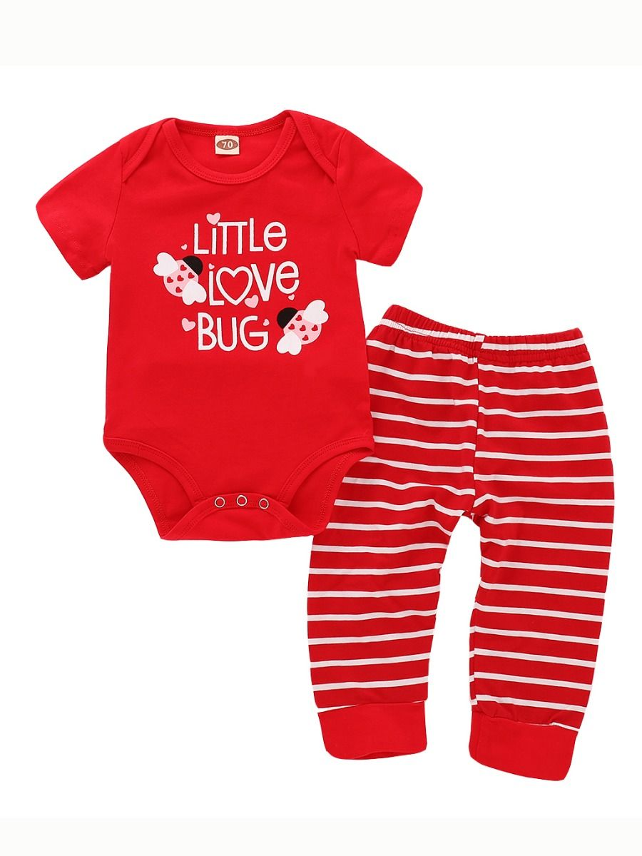 16ba59fd1f Baby Summer Bodysuit   Pants Outfits Set LITTLE LOVE BUG Red Bodysuit+Red    White ...