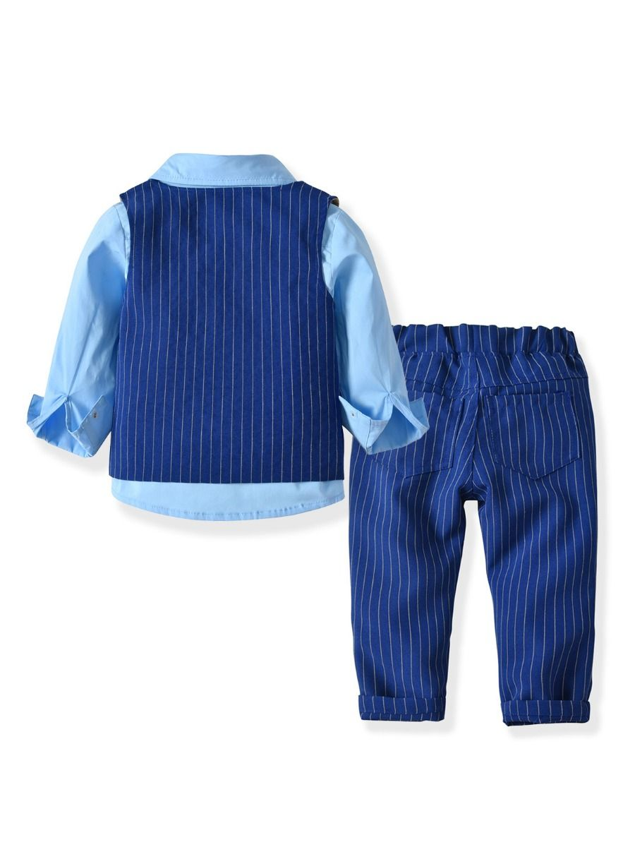 6 Years Blue DaMohony Tartan Shirt Trousers for Children Suit for Babies Children for Party Clothes 2 Pieces Knight Sets for Baby 1