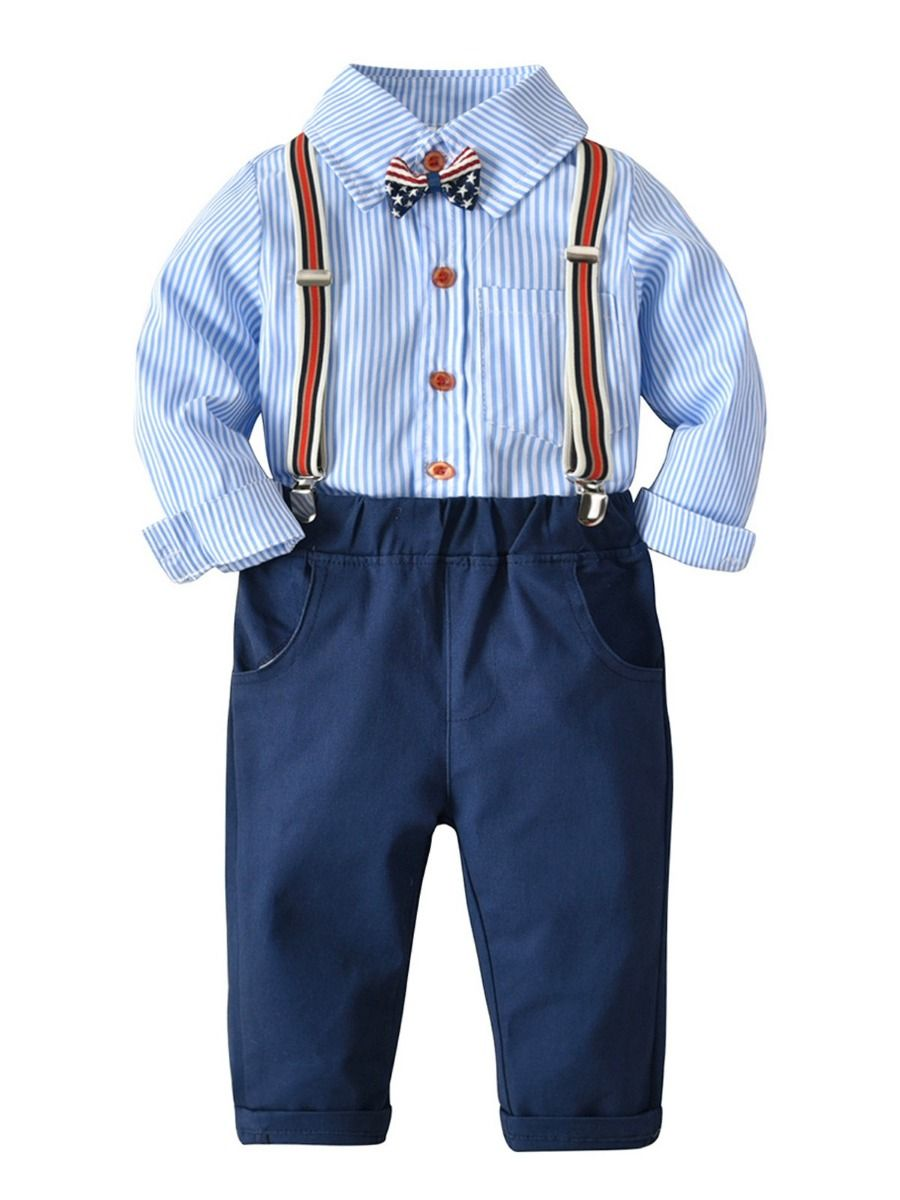 0b1a2e4ff 4-piece British Style Baby Little Boys Clothes Outfits Set Striped Shirt  Long Sleeve with ...