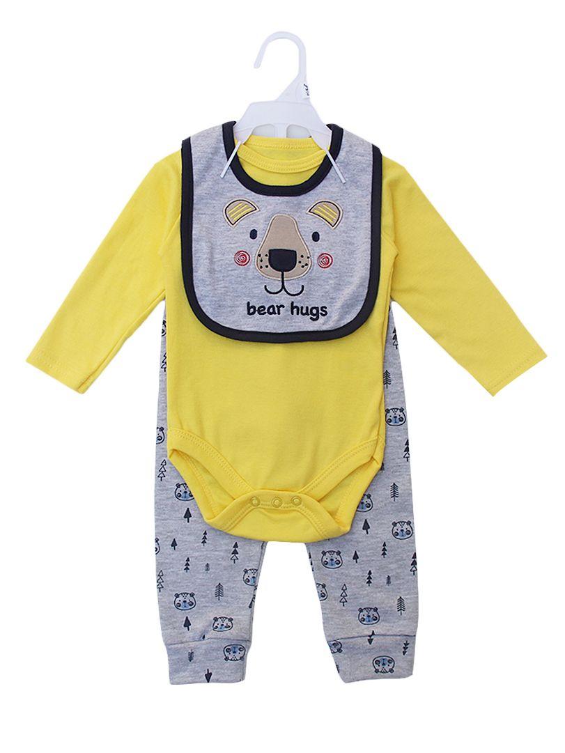 de4fc1956ef70 ... 3-piece Newborn Baby Boy Clothes Outfits Set Yellow Onesie+Bear Pants  +Bib ...