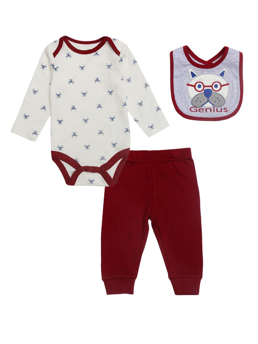 e1c02f34 3-piece Newborn Infant Boys Cotton Bodysuit Outfits Set Cute Dog Bodysuit+Red  Pants ...