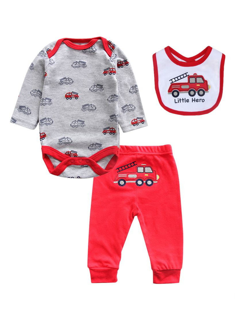 fc42e8395 3-piece Newborn Baby Boys Spring Cotton Clothes Outfits Set Truck Onesie+Red  Trousers ...