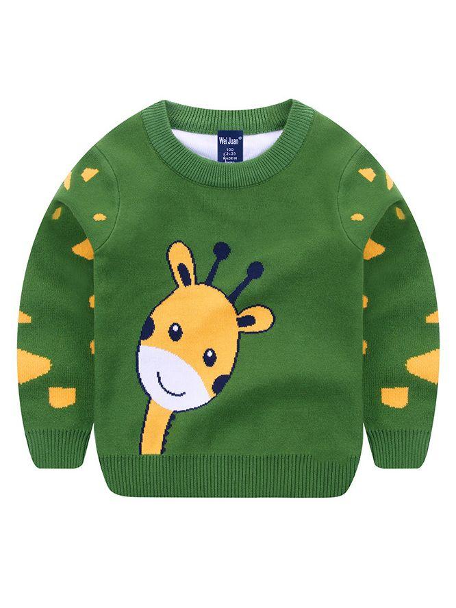 Wholesale Toddler Big Boys Giraffe Crochet Sweater Big
