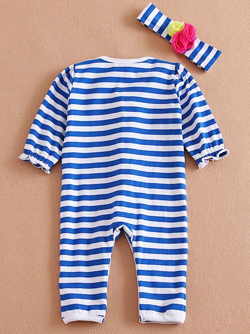 Wholesale Newborn Baby Girl Flower Trimmed Striped Jump