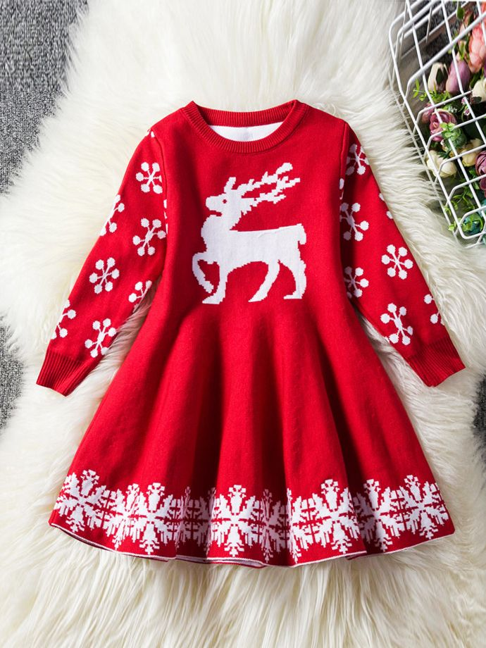 Toddler Christmas Dress.Toddler Big Girl Reindeer Snowflake Crochet Christmas Dress Kids Knit Shift Dress Wholesale