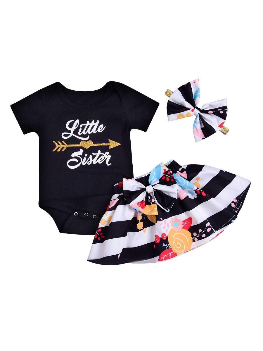 e171aa0f1f0d 3-piece Newborn Baby Girl Summer Clothes Outfits Set Little Sister Romper+Big  Bow ...