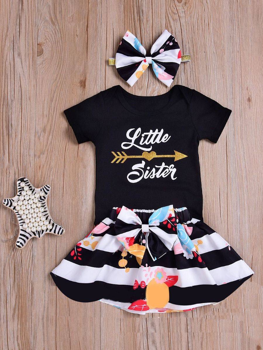 a0659dc59a7 ... 3-piece Newborn Baby Girl Summer Clothes Outfits Set Little Sister  Romper+Big Bow ...