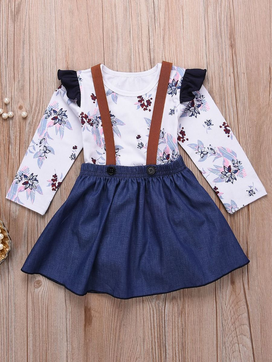 110727ba31e2 2-piece Baby Girl Spring Clothes Outfits Set Flutter Sleeve Floral Romper+Denim  Jumper ...