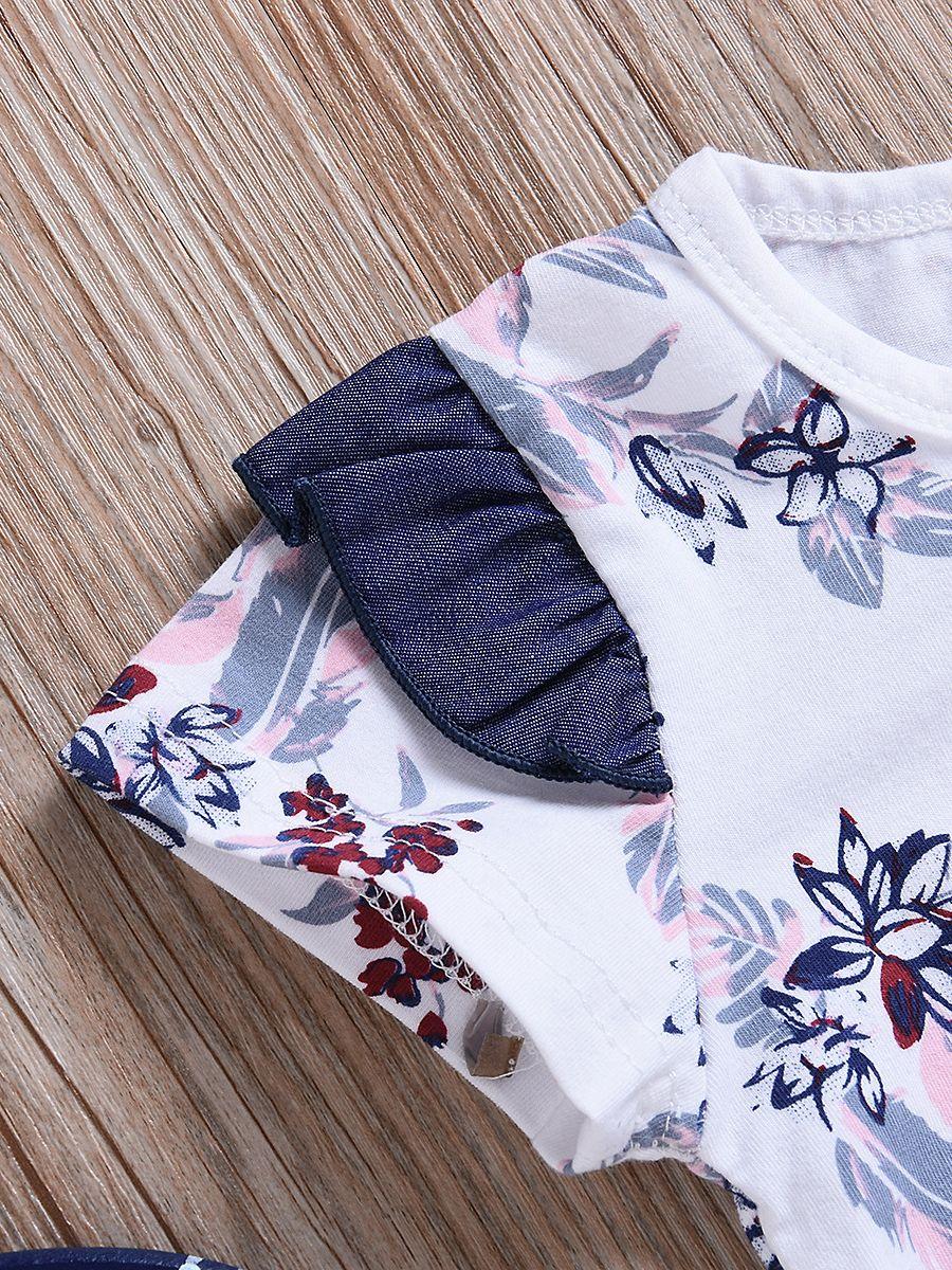 1a9f8c699 ... 2-piece Baby Girl Summer Clothes Outfits Set Flutter Sleeve Floral  Bodysuit+Denim Jumper ...