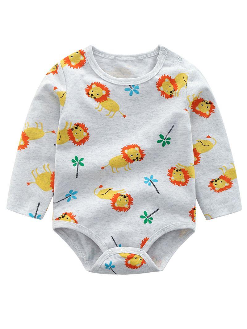 49d1522f5aaf ... 2-piece Newborn Infant Boy Spring Clothing Outfits Set Cartoon Lion  Onesie + Cartoon Style ...