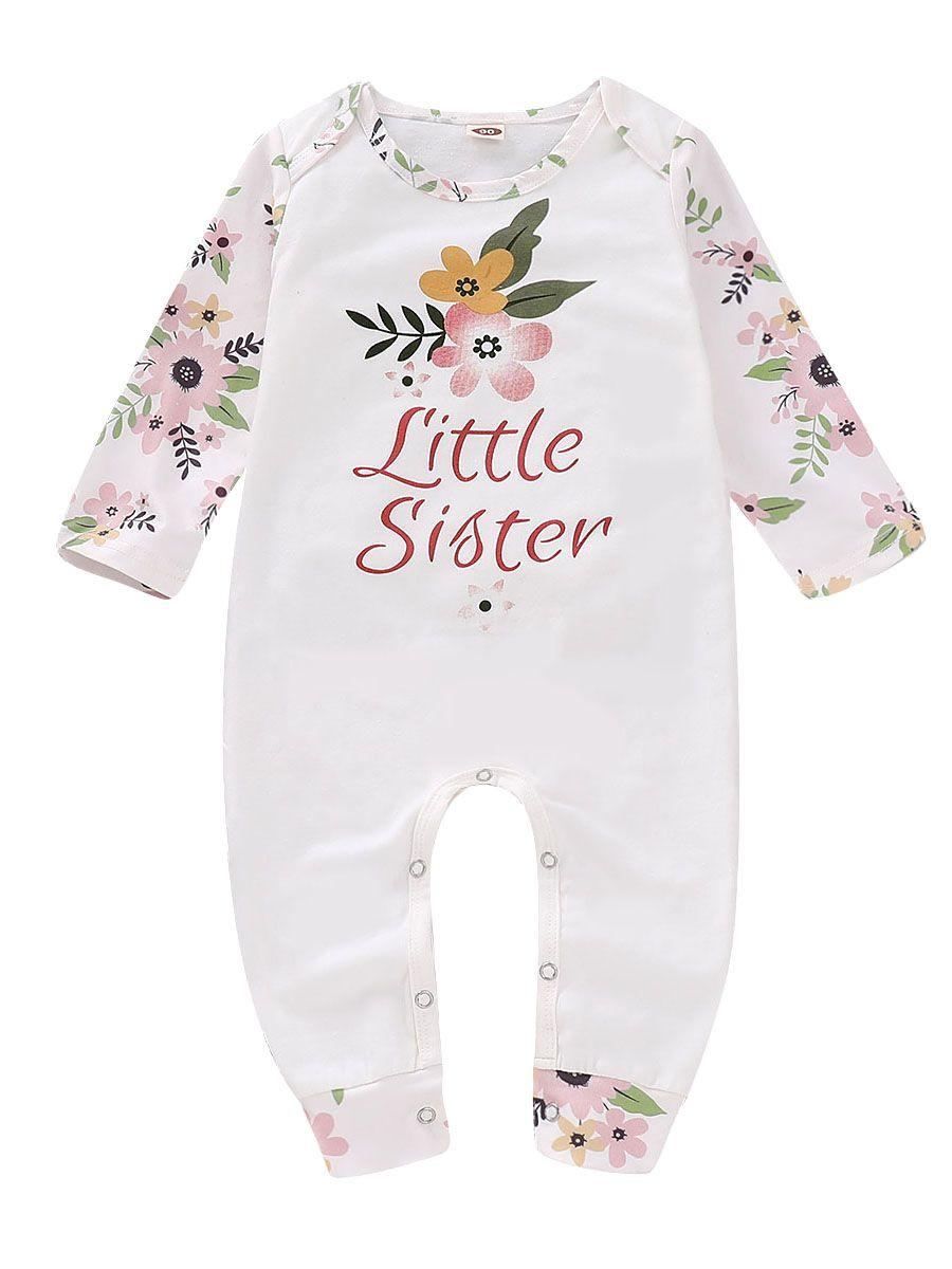 a2e7da3bf Wholesale Newborn Baby Girl Flower Little Sister Print