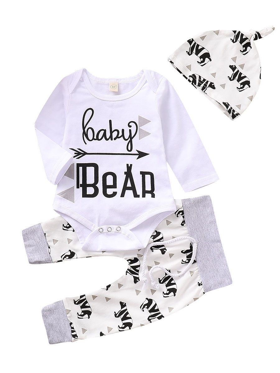 Hat Outfits Set Mama is My Valentine Infant Baby Boys Girls Long Sleeve Letter Print Romper+Pants