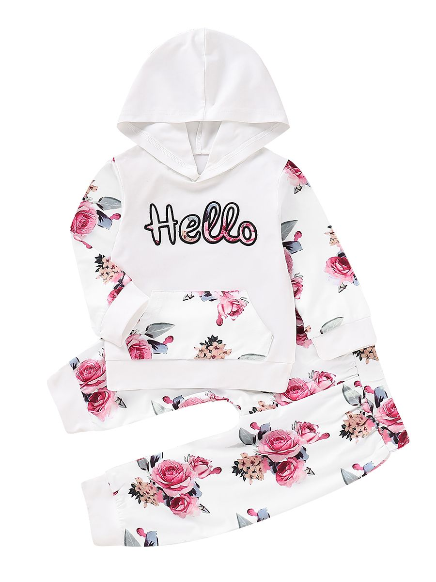 4006f137 2-piece Baby Little Girl Sports Casual Clothes Outfits Set Hello Flower  Print Hoodie with ...
