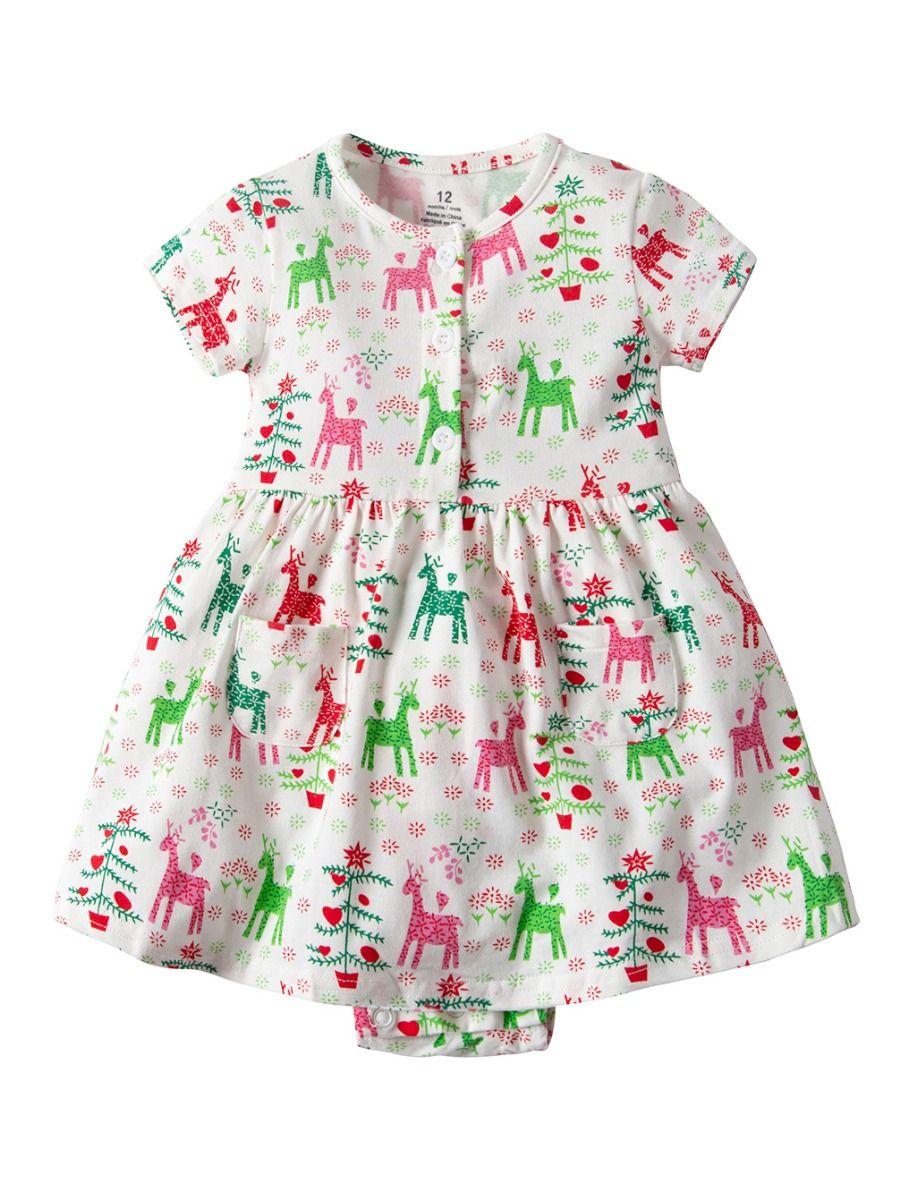 0c235fb0738 Wholesale Christmas Deer Print Baby Girl Summer Romper