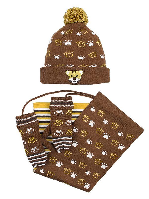 24576c8b1eed3f ... 3-piece Little Big Kids Cartoon Tiger Winter Knitted Beanie Hat+Fleece  Gloves+ ...