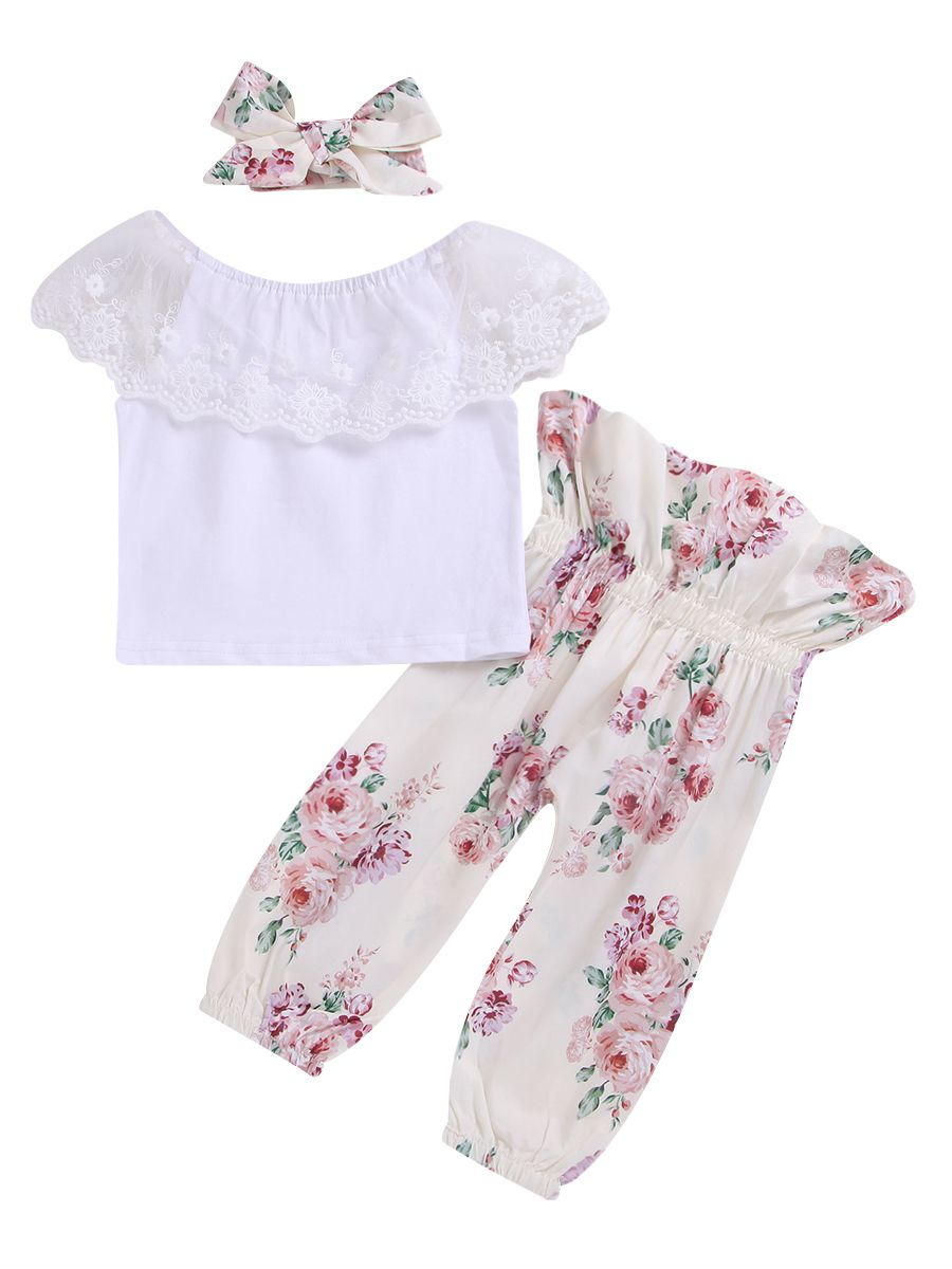 Flower Print Long Pants and Headband Scarf 3 Piece Outfit For 2-7 Years old Girls,Clode/® Fashion Baby Girls Sleeveless Black Shirt